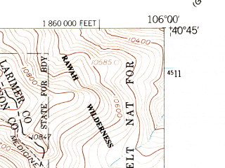 Reduced fragment of topographic map en--usgs--024k--022672--(1956)--N040-45-00_W106-07-30--N040-37-30_W106-00-00