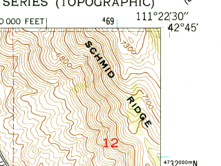 Reduced fragment of topographic map en--usgs--024k--022691--(1949)--N042-45-00_W111-30-00--N042-37-30_W111-22-30