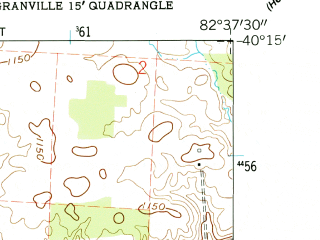 Reduced fragment of topographic map en--usgs--024k--022738--(1961)--N040-15-00_W082-45-00--N040-07-30_W082-37-30; towns and cities Hartford, Johnstown