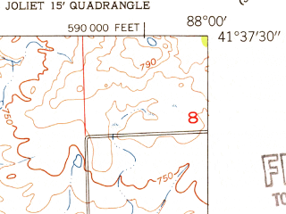 Reduced fragment of topographic map en--usgs--024k--022743--(1954)--N041-37-30_W088-07-30--N041-30-00_W088-00-00; towns and cities Joliet, Crest Hill, Lockport, Fairmont, Ingalls Park