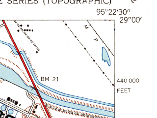 Reduced fragment of topographic map en--usgs--024k--022758--(1943)--N029-00-00_W095-30-00--N028-52-30_W095-22-30; towns and cities Jones Creek