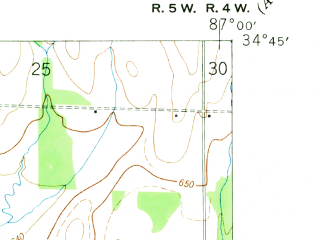 Reduced fragment of topographic map en--usgs--024k--022759--(1950)--N034-45-00_W087-07-30--N034-37-30_W087-00-00