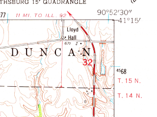 Reduced fragment of topographic map en--usgs--024k--022832--(1953)--N041-15-00_W091-00-00--N041-07-30_W090-52-30; towns and cities Joy