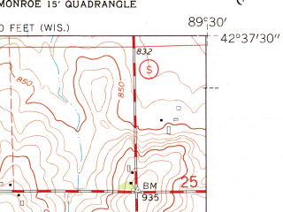 Reduced fragment of topographic map en--usgs--024k--022848--(1962)--N042-37-30_W089-37-30--N042-30-00_W089-30-00