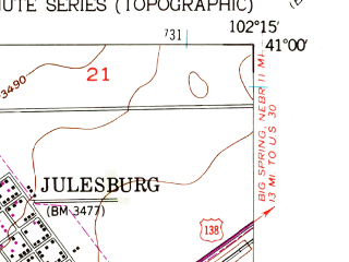 Reduced fragment of topographic map en--usgs--024k--022858--(1953)--N041-00-00_W102-22-30--N040-52-30_W102-15-00; towns and cities Julesburg