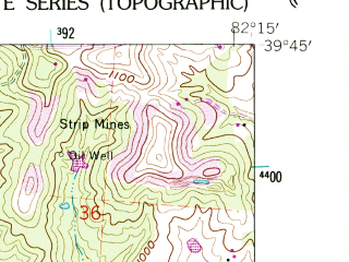 Reduced fragment of topographic map en--usgs--024k--022899--(1961)--N039-45-00_W082-22-30--N039-37-30_W082-15-00; towns and cities Junction City