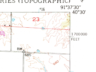 Reduced fragment of topographic map en--usgs--024k--022981--(1949)--N040-30-00_W091-45-00--N040-22-30_W091-37-30; towns and cities Kahoka, Revere