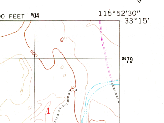 Reduced fragment of topographic map en--usgs--024k--023036--(1956)--N033-15-00_W116-00-00--N033-07-30_W115-52-30