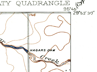 Reduced fragment of topographic map en--usgs--024k--023081--(1915)--N029-52-30_W095-52-30--N029-45-00_W095-45-00; towns and cities Katy