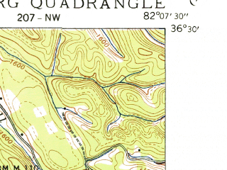 Reduced fragment of topographic map en--usgs--024k--023134--(1938)--N036-30-00_W082-15-00--N036-22-30_W082-07-30; towns and cities Hunter