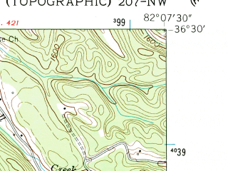 Reduced fragment of topographic map en--usgs--024k--023134--(1960)--N036-30-00_W082-15-00--N036-22-30_W082-07-30; towns and cities Hunter
