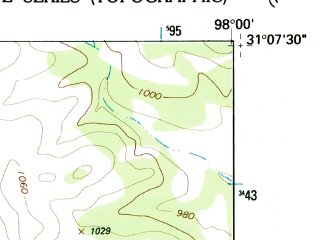 Reduced fragment of topographic map en--usgs--024k--023230--(1954)--N031-07-30_W098-07-30--N031-00-00_W098-00-00