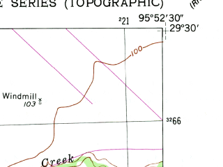 Reduced fragment of topographic map en--usgs--024k--023290--(1953)--N029-30-00_W096-00-00--N029-22-30_W095-52-30; towns and cities Beasley, Kendleton