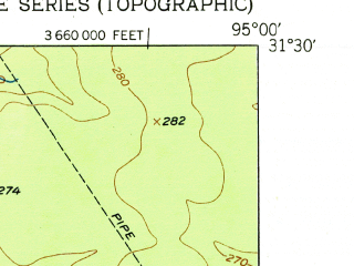 Reduced fragment of topographic map en--usgs--024k--023311--(1951)--N031-30-00_W095-07-30--N031-22-30_W095-00-00