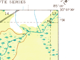 Reduced fragment of topographic map en--usgs--024k--023325--(1945)--N030-07-30_W085-07-30--N030-00-00_W085-00-00