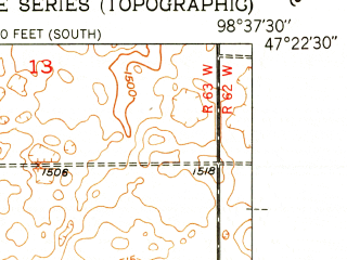 Reduced fragment of topographic map en--usgs--024k--023342--(1951)--N047-22-30_W098-45-00--N047-15-00_W098-37-30; towns and cities Kensal