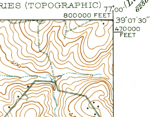 Reduced fragment of topographic map en--usgs--024k--023347--(1951)--N039-07-30_W077-07-30--N039-00-00_W077-00-00; towns and cities Silver Spring, Wheaton-glenmont, Aspen Hill, North Bethesda, Colesville