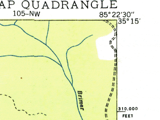 Reduced fragment of topographic map en--usgs--024k--023426--(1936)--N035-15-00_W085-30-00--N035-07-30_W085-22-30; towns and cities Powells Crossroads