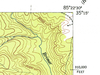 Reduced fragment of topographic map en--usgs--024k--023426--(1946)--N035-15-00_W085-30-00--N035-07-30_W085-22-30; towns and cities Powells Crossroads