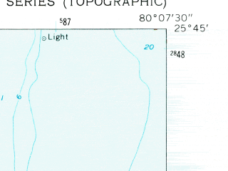 Reduced fragment of topographic map en--usgs--024k--023452--(1962)--N025-45-00_W080-15-00--N025-37-30_W080-07-30; towns and cities Key Biscayne