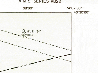 Reduced fragment of topographic map en--usgs--024k--023465--(1947)--N040-30-00_W074-15-00--N040-22-30_W074-07-30; towns and cities Keansburg, Matawan, Strathmore, Union Beach, Cliffwood Beach