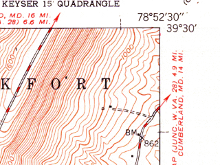 Reduced fragment of topographic map en--usgs--024k--023468--(1951)--N039-30-00_W079-00-00--N039-22-30_W078-52-30; towns and cities Keyser