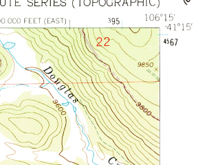 Reduced fragment of topographic map en--usgs--024k--023473--(1961)--N041-15-00_W106-22-30--N041-07-30_W106-15-00