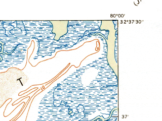 Reduced fragment of topographic map en--usgs--024k--023487--(1943)--N032-37-30_W080-07-30--N032-30-00_W080-00-00; towns and cities Kiawah Island