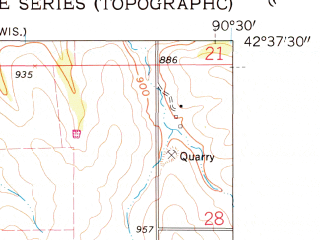 Reduced fragment of topographic map en--usgs--024k--023505--(1961)--N042-37-30_W090-37-30--N042-30-00_W090-30-00