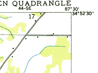 Reduced fragment of topographic map en--usgs--024k--023533--(1936)--N034-52-30_W087-37-30--N034-45-00_W087-30-00; towns and cities Killen, St. Florian
