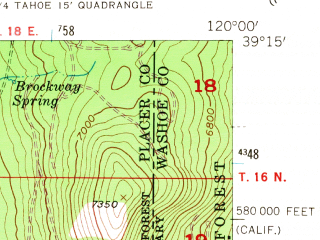 Reduced fragment of topographic map en--usgs--024k--023622--(1955)--N039-15-00_W120-07-30--N039-07-30_W120-00-00; towns and cities Dollar Point, Kings Beach, Tahoe Vista
