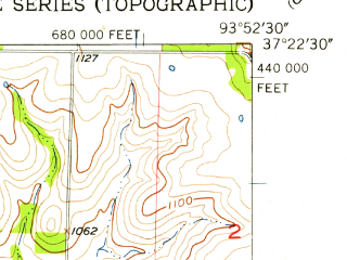 Reduced fragment of topographic map en--usgs--024k--023632--(1956)--N037-22-30_W094-00-00--N037-15-00_W093-52-30