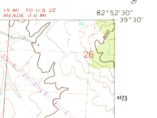 Reduced fragment of topographic map en--usgs--024k--023656--(1961)--N039-30-00_W083-00-00--N039-22-30_W082-52-30; towns and cities Kingston