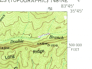 Reduced fragment of topographic map en--usgs--024k--023709--(1953)--N035-45-00_W083-52-30--N035-37-30_W083-45-00; towns and cities Townsend