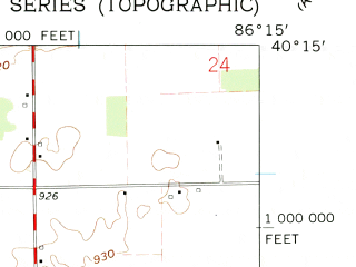 Reduced fragment of topographic map en--usgs--024k--023748--(1961)--N040-15-00_W086-22-30--N040-07-30_W086-15-00; towns and cities Kirklin