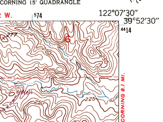 Reduced fragment of topographic map en--usgs--024k--023760--(1949)--N039-52-30_W122-15-00--N039-45-00_W122-07-30