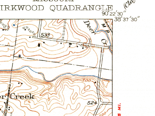 Reduced fragment of topographic map en--usgs--024k--023762--(1940)--N038-37-30_W090-30-00--N038-30-00_W090-22-30; towns and cities Kirkwood, Sappington, Crestwood, Des Peres, Glendale