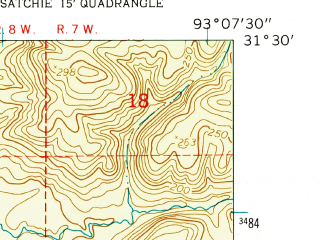 Reduced fragment of topographic map en--usgs--024k--023779--(1954)--N031-30-00_W093-15-00--N031-22-30_W093-07-30
