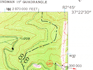 Reduced fragment of topographic map en--usgs--024k--023797--(1954)--N037-22-30_W082-52-30--N037-15-00_W082-45-00; towns and cities Pippa Passes