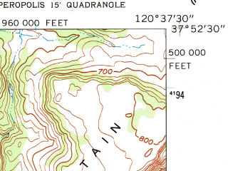 Reduced fragment of topographic map en--usgs--024k--023853--(1962)--N037-52-30_W120-45-00--N037-45-00_W120-37-30