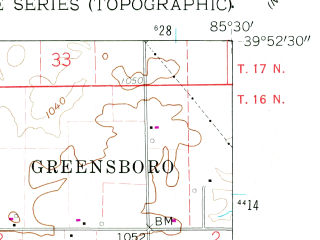 Reduced fragment of topographic map en--usgs--024k--023855--(1960)--N039-52-30_W085-37-30--N039-45-00_W085-30-00; towns and cities Knightstown