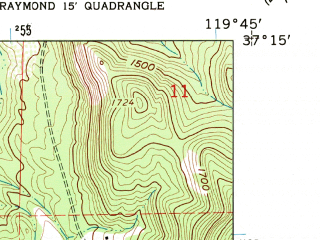 Reduced fragment of topographic map en--usgs--024k--023885--(1962)--N037-15-00_W119-52-30--N037-07-30_W119-45-00; towns and cities Yosemite Lakes