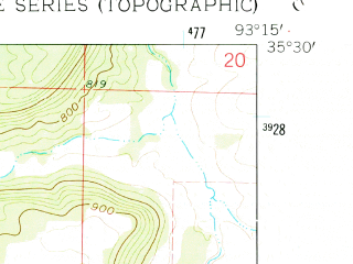 Reduced fragment of topographic map en--usgs--024k--023905--(1962)--N035-30-00_W093-22-30--N035-22-30_W093-15-00; towns and cities Knoxville