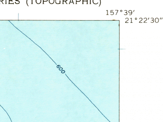 Reduced fragment of topographic map en--usgs--024k--023933--(1959)--N021-22-30_W157-46-30--N021-15-00_W157-38-60; towns and cities Waimanalo, Waimanalo Beach, Maunawili
