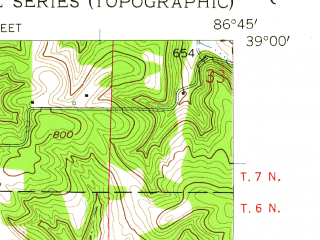 Reduced fragment of topographic map en--usgs--024k--023940--(1956)--N039-00-00_W086-52-30--N038-52-30_W086-45-00 in area of Lake Greenwood