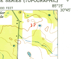 Reduced fragment of topographic map en--usgs--024k--024041--(1952)--N030-45-00_W085-22-30--N030-37-30_W085-15-00