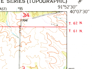Reduced fragment of topographic map en--usgs--024k--024047--(1950)--N040-07-30_W092-00-00--N040-00-00_W091-52-30; towns and cities La Belle