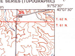 Reduced fragment of topographic map en--usgs--024k--024047--(1951)--N040-07-30_W092-00-00--N040-00-00_W091-52-30; towns and cities La Belle
