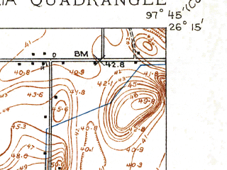 Reduced fragment of topographic map en--usgs--024k--024075--(1929)--N026-15-00_W097-52-30--N026-07-30_W097-45-00; towns and cities La Feria, Palm Valley, Primera