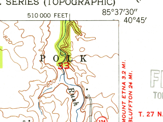 Reduced fragment of topographic map en--usgs--024k--024078--(1953)--N040-45-00_W085-45-00--N040-37-30_W085-37-30; towns and cities La Fontaine
